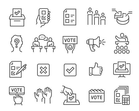Voting and Election Icons Set. Collection of linear simple web icons such as Form, Online Voting, Debate, Candidate Rating, Vote Count and others. Editable vector stroke.