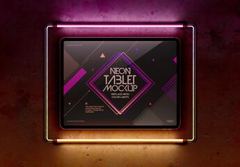 Tablet and Neon Light Frame Mockup