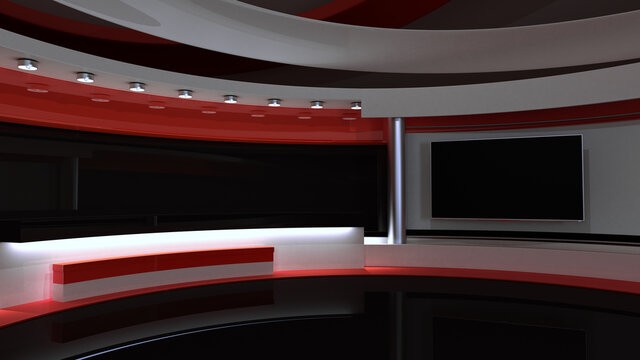 Tv Studio. red_studio. Backdrop for TV shows .TV on wall. News studio. The perfect backdrop for any green screen or chroma key video or photo production. 3D rendering.