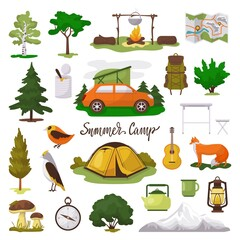 Camp adventure vector illustration icons set. Cartoon flat tourist camping equipment, map, tent and campfire, green trees and animals in forest. Elements of outdoor summer tourism isolated on white