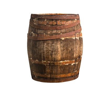 isolated photo on white background of wooden barrel. old brown iron oak with rusty iron Hoop.