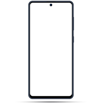 Smartphone Mockup With Blank White Screen. Trendy Smart Phone, Cellphone Template. Galaxy A71,A51. Smart Phone Model 2020. Stock Vector