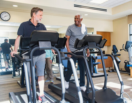 senior man training in gym