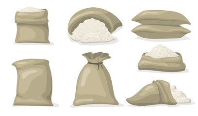 Various sacks of white rice flat icon set. Cartoon large bags and big packs with raw grains of rice isolated vector illustration collection. Food storage and packaging concept