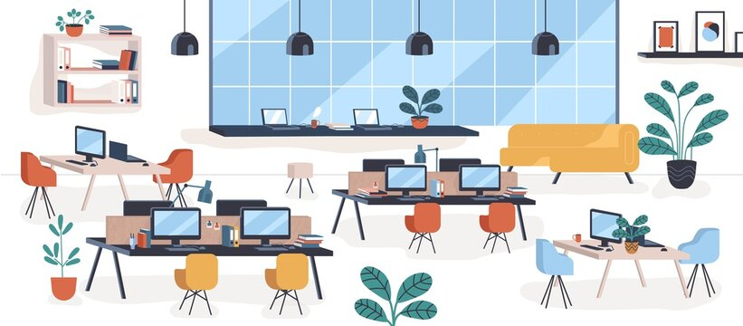 Modern mid century office, open space. Comfy houseplant, chair, desktops. Comfortable coworking place or workplace, stylish furniture, interior decoration, design. Flat cartoon vector illustration