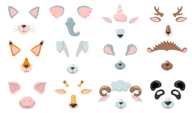 Various animal phone masks flat icon set. Cartoon cat, fox, pig, elephant, bunny, mouse ears, nose and eyes isolated vector illustration collection. Avatar design and smartphone application concept