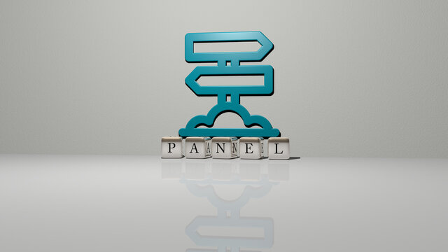 3D graphical image of panel vertically along with text built by metallic cubic letters from the top perspective, excellent for the concept presentation and slideshows. background and illustration