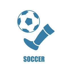 Kicking a soccer ball. Colored icon.