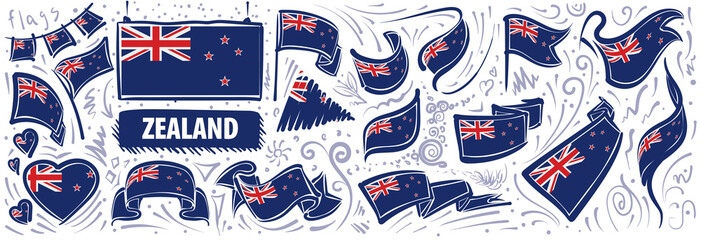 Vector set of the national flag of New Zealand in various creative designs