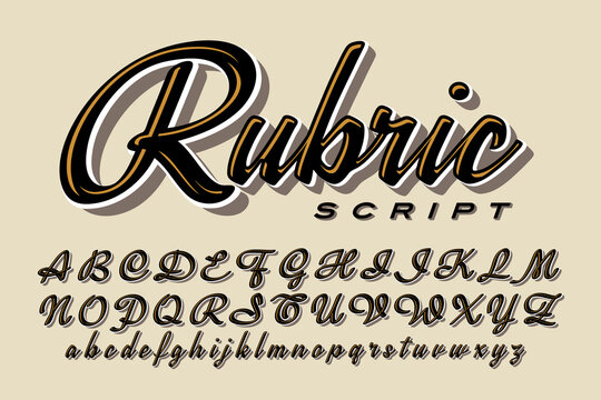 A Calligraphic Script Font; This Alphabet Has a Modern but Slightly Retro Vibe with Streamlined Letters and Highlight and Shadow Effects.