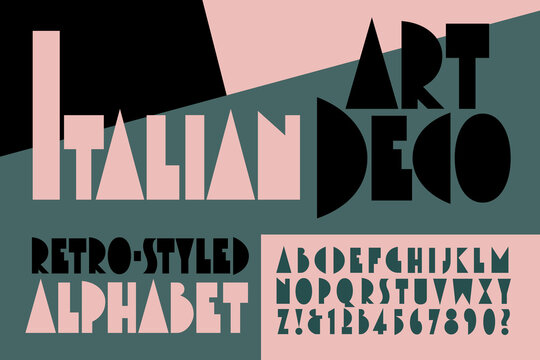 An Original Alphabet in the Style of Italian Art Deco Poster Graphics from the 1920s and 1930s.