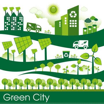 Green Eco city living concept.