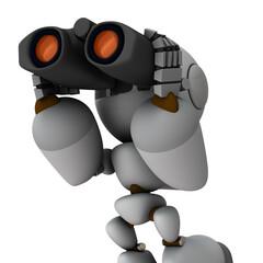 先見の明。双眼鏡を覗く人工知能のロボット