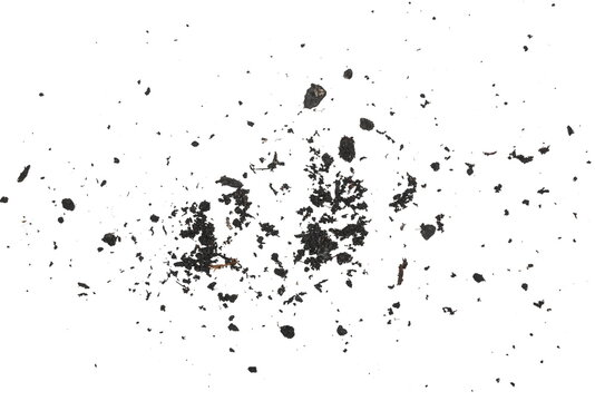Dirt dust pile texture isolated on white background, top view