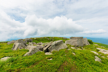 boulders on the alpine hillside. view from the edge of a hill. beautiful summer landscape in mountains. overcast windy weather  with grey clouds on the sky