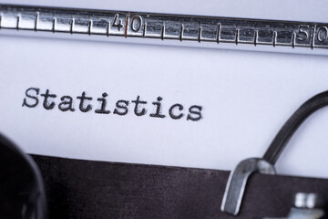 Inscription Statistics made by old typewriter on white paper