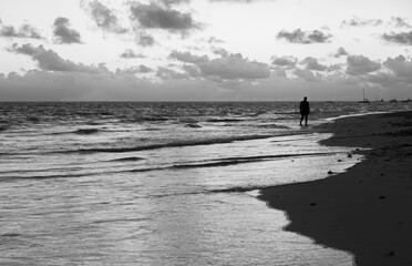 Atlantic ocean coast. Black and white landscape