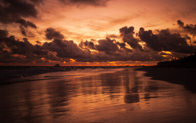 Sunrise over Atlantic Ocean coast, Bavaro beach