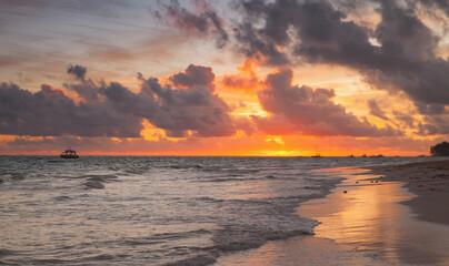 Colorful sunrise over Atlantic Ocean. Bavaro beach