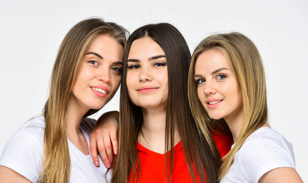 Expressing feelings. smiling multiethnic women. female skin care. hairdresser for real girls. help and support. togetherness. portrait of three women with diverse type of skin. womens power concept