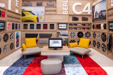 GENEVA, SWITZERLAND - MARCH 1, 2016: Citroen accessories and merchandise lounge room at the 86th Geneva International Motor Show.