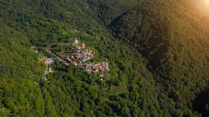 Topolò  municipality of Grimacco, in the province of Udine, region Friuli-Venezia Giulia north-eastern Italy. Small town in the Alps mountains. Beautiful nature place aerial photo from above top view