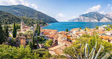 Panoramic view over Torbole, Lago di Garda, Trentino, Italy