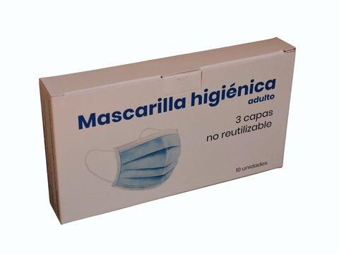 Caja de mascarillas quirúrgicas desechables de 3 capas y 10 piezas. Face mask box 3 ply.