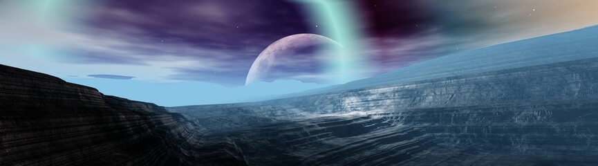 alien landscape, a panorama of a surface of another planet at sunrise, 3d rendering