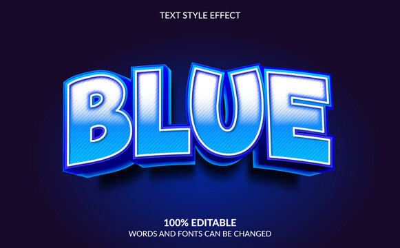 Editable Text Effect, Blue Text Style