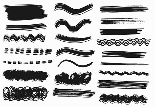 Grunge vector dry paint brush strokes. Isolated on white background. Hand drawn collection