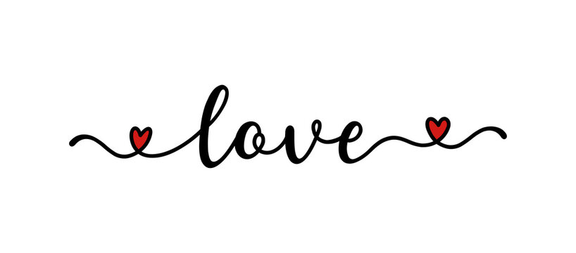 Hand sketched Love word as banner or logo. Lettering for header, label, announcement, advertising