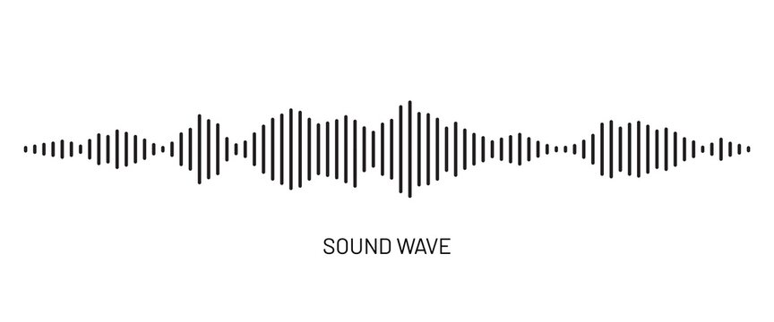 Black soundwave equalizer isolated on white background. Abstract music wave, radio signal frequency and digital voice visualisation. Audio sound symbol