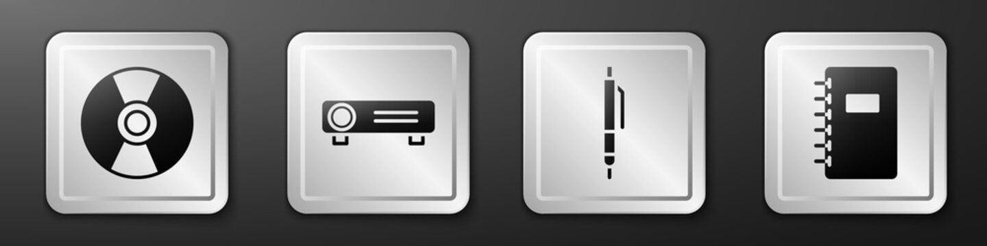 Set CD or DVD disk, Movie, film, media projector, Pen and Spiral notebook icon. Silver square button. Vector.