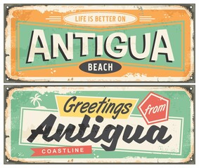 Antigua beach souvenir poster design in retro style. Caribbean island travel vacation greeting card template. Tropical destination  vector vintage illustration.