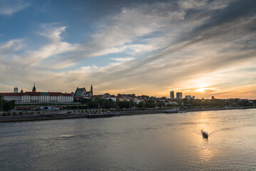 Sunset over Old Town in Warsaw
