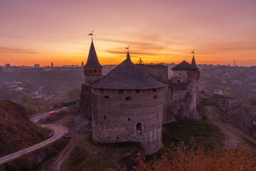 medieval castle or stronghold silhouette and beautiful sunset