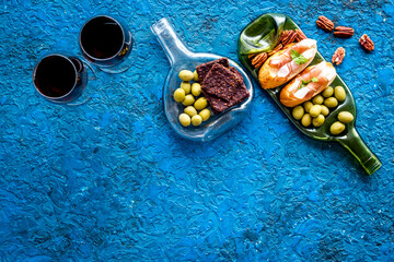 Fototapete - Antipasto and red wine in glasses top-down copy space