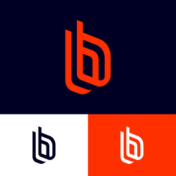 B letters on different backgrounds. Double b monogram consist of red elements. This logo can be used for business, hi-tech production, sport, games, web and digital.