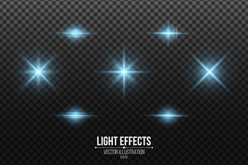 Wall Mural - Set of blue light effects isolated on a dark transparent background. Shining stars and glowing dust. Glittering elements. Vector illustration
