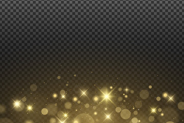 Wall Mural - Abstract golden lights bokeh isolated on a dark transparent background. Shining stars and glare. Gold glitter. Vector illustration