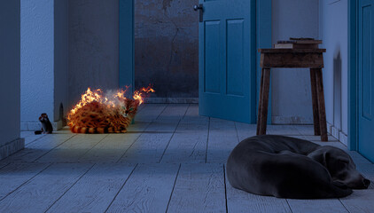 Cat hunting mouse in front of the den, 3d illustration, 3d rendering