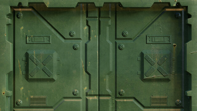 Military green sci fi door of spacecraft installations and futuristic scientific research centers, isolated. 3D rendering.