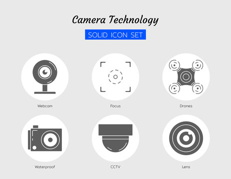 solid icon symbol set, camera innovation technology webcam, waterproof, drone, lens, cctv, focus frame, Isolated flat vector design