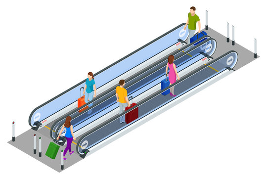 Isometric Escalator isolated on white background. People with luggage stand on the escalator at the airport or train station.
