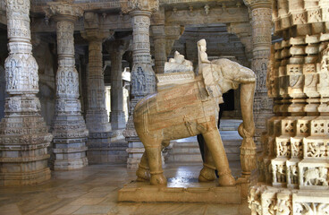 RANAKPUR, INDIA . Amazing carved sculpture of Elephant in Adinath jain temple in Rajasthan