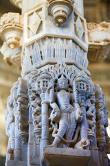 RANAKPUR, INDIA . Amazing carved sculptures and columns in Adinath jain temple in Rajasthan