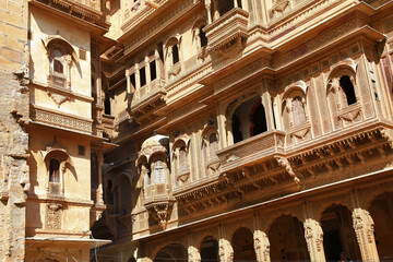 Golden city of India - wonderful Jaisalmer with carved traditional buildings Mughal style. Rajasthan