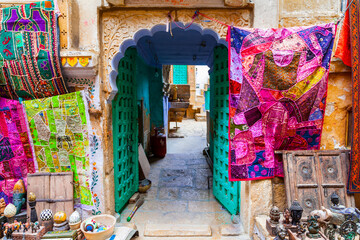 Colors of traditional India. Shop streets in old town Jaisalmer. Rajasthan. Feb 2013