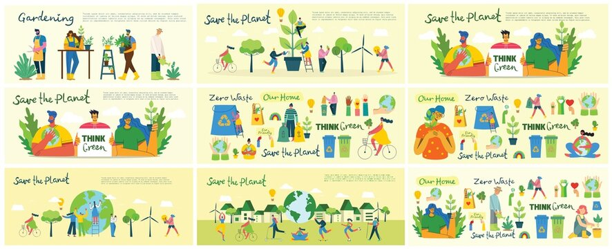 Set of eco save environment pictures. People taking care of planet collage. Zero waste, think green, save the planet, our home hand written text in the flat design